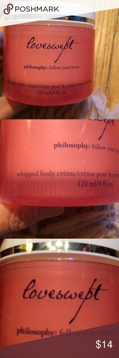 Loveswept philosophy whipped body cream BNWT. 4 oz of whipped body cream. Everyone loves philosophy for a reason. Used to be the best kept secret, but because people raced scout all their products, they have won so many beauty awards. You don't have to spend s fortune. Plus a little goes a long way with a very subtle feminine scent.  Plus all my buyers receive a free surprise gift as a thank you. It's a new scent but they keep selling out. I have the perfume listed Abd would be happy to…