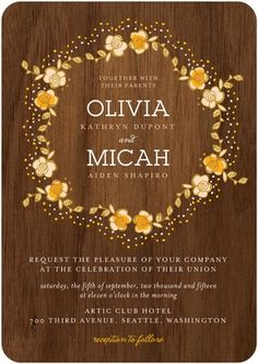 Wedding Invitation Retro Wreath