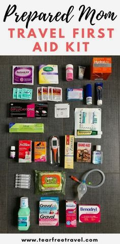 Mom Travel First Aid Kit Wondering what to bring in your travel first aid kit? Here is my first aid checklist for the best family first aid kit. From snot-suckers to antidiarrheals, this kit has got you covered! There is no such thing as being ov Baby First Aid Kit, First Aid For Kids, Camping First Aid Kit, Kits For Kids, First Aid Kit Checklist, First Aid Tips, Camping Checklist, Camping Tricks, Camping Ideas