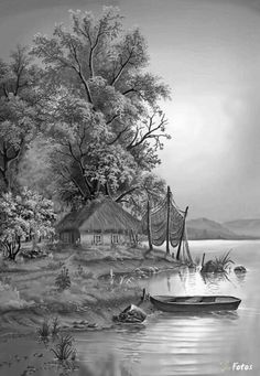 Coloring for adults - Kleuren voor volwassenen Pencil Sketches Landscape, Landscape Drawings, Landscape Design, Ink Pen Drawings, Cartoon Drawings, Pencil Sketch Drawing, Pencil Art, Black And White Art Drawing, Nature Drawing