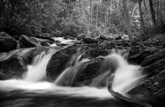 Georgia Mountain Water In Black and White. Taken on film along the trail to Anna Ruby Falls near Helen, Georgia