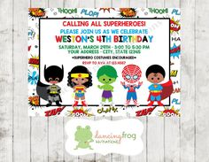 African American Superhero Birthday Invitation - Custom Printed Superhero Birthday Invitation - by Dancing Frog Invitations