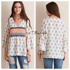 """🎉SALE 🎉Boho tunic Baroque print crinkle chiffon bell sleeve blouse . V-neck. Non-sheer. Woven. Lightweight. FABRIC : 100%POLYESTER. Available in size Small (2-4) TK1358200 . LENGTH: 27"""" from top of shoulder to bottom hem. BUST: 19"""" across bust from armpit to armpit. 2 a T Boutique  Tops"""