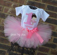 Prima Ballerina Birthday Tutu Outfit, My First Ballerina Tutu Set, Ballerina Party Tutu Set on Etsy, $54.95