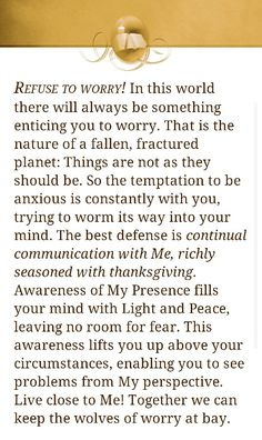 Refuse to worry - Jesus Calling by Sarah Young Devotional