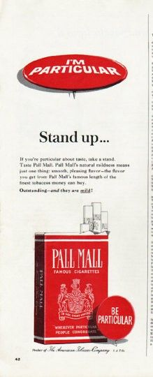 "1965 PALL MALL CIGARETTES vintage magazine advertisement ""Stand up"" ~ Stand up ... and be counted! If you're particular about taste, take a stand. Taste Pall Mall. ~ Size: The dimensions of each page of the two-page advertisement are approximately 5.25 inches x 13.5 inches (13.25 cm x 34.25 cm). Condition: This original vintage two-page advertisement is in Excellent Condition unless otherwise noted."