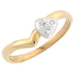 14k Two-Tone Yellow and White Gold Unique Diamond Heart Promise Ring >>> See this awesome image  : Promise Rings