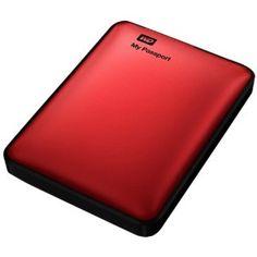 WD My Passport 1TB Portable Hard Drive - Red