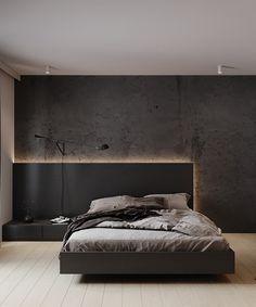 Industrial Bedroom Design, Modern Bedroom Design, Bed Design, Home Interior Design, City Bedroom, Home Decor Bedroom, Bedroom Wall Designs, Small Apartment Design, Aesthetic Bedroom