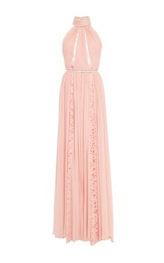 Crepe Georgette and Lace Sleeveless Long Dress by Elie Saab for Preorder on Moda Operandi