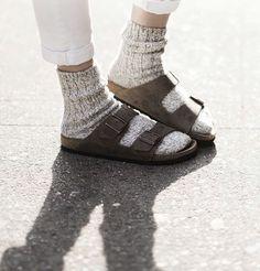 Birkenstock Sandals with socks Sock Shoes, Cute Shoes, Me Too Shoes, Socks And Sandals, Sandals Outfit, Outfits Mujer, Cozy Socks, Birkenstock Sandals, Birkenstock Arizona