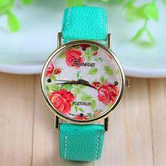 Dress Rose Flower green strap Woman Watch