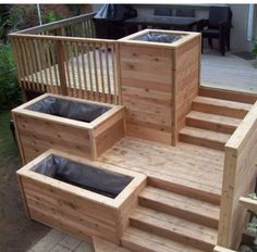 A Patio Deck Design will add beauty to your home. Creating a patio deck design is an investment that will […] Outdoor Planters, Outdoor Gardens, Outdoor Decor, Cement Planters, Wooden Planters, Railing Planters, Hanging Gardens, Flower Planters, Outdoor Spaces