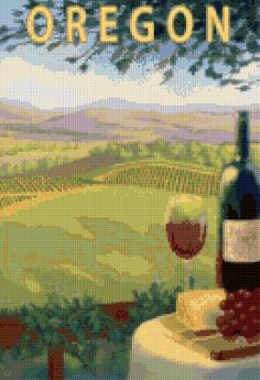 Vintage Oregon Wine Country travel poster Cross Stitch pattern PDF - Instant Download! by PenumbraCharts on Etsy