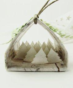 Handmade diorama ornament Holidays tree shelter