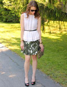 ASOS top, BCBG skirt, Forever 21 belt, Guess pumps, Zara clutch