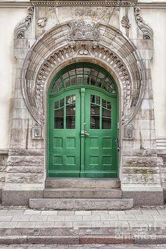 Green Door Art Nouveau Photograph by Antony McAulay