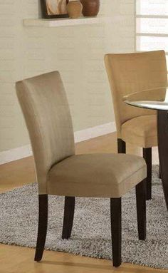 Set of 2 Taupe Microfiber Parson Chairs -- Check this awesome product by going to the link at the image.Note:It is affiliate link to Amazon.