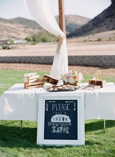 White Framed Chalkboard Favor Sign | Wild Heart Events | Lavender and Twine  | TheKnot.com