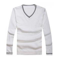 Men Spring V-Neck Long Sleeve All Matching Slim Wine Red Knitting... ($21) via Polyvore