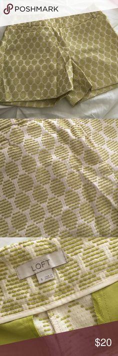 Chartreuse Knit Shorts Perfect Condition. 55% Polyester, 45% Rayon LOFT Shorts