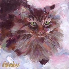 """Mufasa - The Maine Coon"" - Original Fine Art for Sale - © Pamela Gatens"
