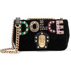 Dolce & Gabbana Lucia embellished ayers-appliquéd velvet shoulder bag ($2,410) ❤ liked on Polyvore featuring bags, handbags, shoulder bags, and, appliqued, ayers, black, leopard shoulder bag, kiss-lock handbags and cell phone purse