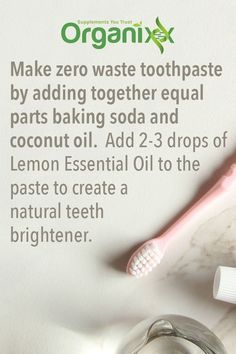 DIY natural toothpaste that will make no waste! Homemade Skin Care, Diy Skin Care, Homemade Products, Diy Products, Household Products, Household Items, Organic Essential Oils, Lemon Essential Oils, Organic Toothpaste