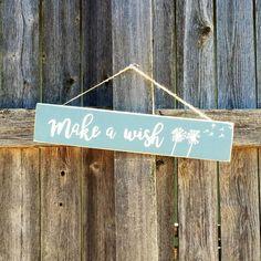 Make a wish hanging pallet sign #texasrusticwooddecor #makeawish #wish #dandelion #blowflower