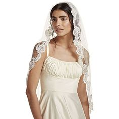 Fingertip Veil with Pearl Embellished Alencon Lace Style VCRL538 Ivory >>> Click for Special Deals #PremiumLingerie