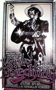 Kinky Friedman and the Texas Jewboys, Armadillo World Headquarters, Austin.  I saw this show.