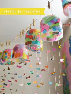 Kids make colorful lanterns from giant mayonnaise jars. Great idea for recycled art project ideas! Kids make colorful lanterns from giant mayonnaise jars. Great idea for recycled art project ideas! Upcycled Crafts, Recycled Art Projects, Recycled Crafts For Kids, Diy Projects, Art Projects Kids, Recycling Projects For Kids, Summer Art Projects, Recycled Materials, Kids Crafts