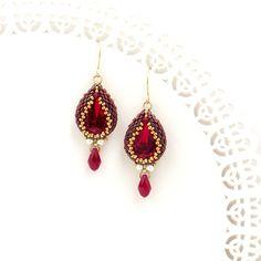 Collar cristal rojo collar victoriano collar rojo por LioraBJewelry