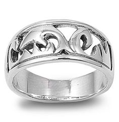 Sterling Silver Swimming Dolphin Ring