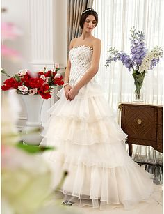 A-line  Strapless Sweep/Brush Train Satin And Organza Wedding Dress