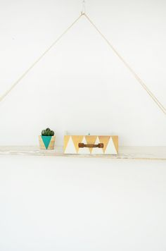 geometric - drawer - triangle - gold - white - turquoise - home decoration - wood