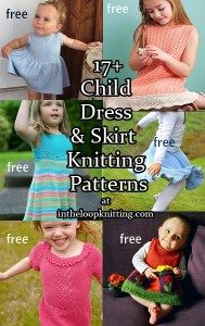 Knitting patterns for Children's Dresses and Skirts, most of the patterns are free. Nothing is more fun to wear or knit than a twirly whirly flouncy bouncy dress or skirt for the little ones in your life.