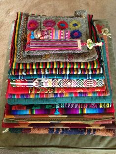 Colorful handwoven Guatemalan textiles.