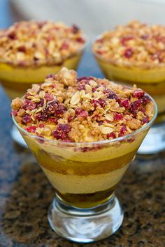 Pumpkin Mousse Trifle with Cranberries and Apricot-Orange Sauce. Now that sounds RITCH! #DisneyWorld #Recipes