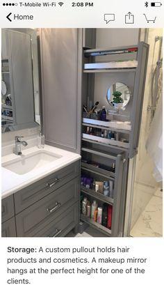 Great option for makeup storage in bathroom cabinetry! Great option for makeup storage in bathroom cabinetry! Bathroom Cabinetry, Bathroom Renos, Bathroom Mirrors, Wood Bathroom, Bathroom Cabinet Storage, Makeup Storage In Bathroom, Storage Ideas For Bathroom, Narrow Bathroom Cabinet, Bathroom With Makeup Vanity
