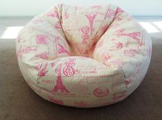 Bean Bag Girls, Children's, Toddlers, French Stamp Design Pink & Natural Ivory Lounge Chair, Play room, Bedroom Kids bean bag.
