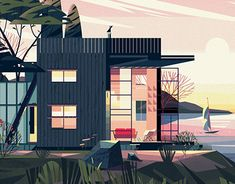 Creation of a series of 60 chapter opening illustrations for a new Architecture book published by Taschen, titled Cabins. : Creation of a series of 60 chapter opening illustrations for a new Architecture book published by Taschen, titled Cabins. Building Illustration, House Illustration, Digital Illustration, Graphic Illustration, Graphic Art, Architecture Illustrations, Image Deco, Gravure Illustration, House Sketch