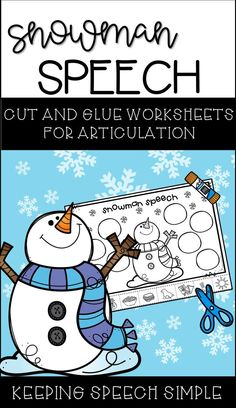 Get your students engaged with these hands on snowman themed worksheets during your therapy session. Just print and go! These worksheets are ideal for preschool and elementary students. They can also be sent home as home reinforcement practice.