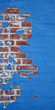 Blue wall and bricks
