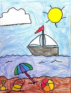 beach drawing art education summer art projects, art, beach - art drawing for Easy Drawings For Kids, Cool Drawings, Art For Kids, Flower Drawing For Kids, Summer Art Projects, Projects For Kids, Daffodil Craft, Flowers Illustration, Beach Drawing