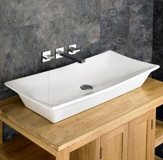 Click Basin - Contemporary Styled Capri x Ceramic Rectangular Washbasin - put this in one of my Bristol Flats, very nice. Countertop Basin, Bathroom Countertops, Basin Sink Bathroom, White Bathroom, Stove Top Burners, Large Bathrooms, Cool Apartments, Contemporary Ceramics, White Ceramics