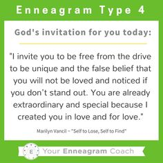 """Enneagram #Type4 this is the gospel message for your heart today! Each personality has particular thoughts and feelings that hinder what the liberating gospel message is saying to them. Read this TRUTH and allow it to sink deep into your soul. Ask the Holy Spirit to enable you to hear this message every day and expand your ability to embrace His truth and love for you because of what Christ has done for you and in you. Thanks to Marilyn Vancil and her book,""""Self to Lose, Self to Find""""…"""