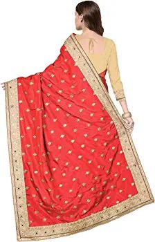Buy PANASH TRENDS Women's Satin Net Saree With Blouse Piece (UJJ.K579.PinkOld_Pink) at Amazon.in