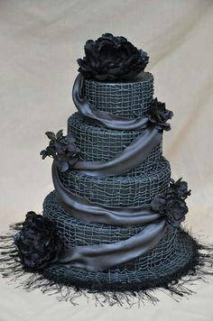 Gothic inspired cake with black edible roses and laces - gorgeous