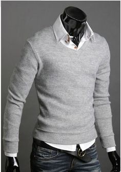 High Quality Casual Sweater Men Pullovers 2014 Brand Spring Autumn Knitting long sleeve V neck Knitwear Sweaters Plus size XXL-in Pullovers ... | Raddest Looks On The Internet: http://www.raddestlooks.net